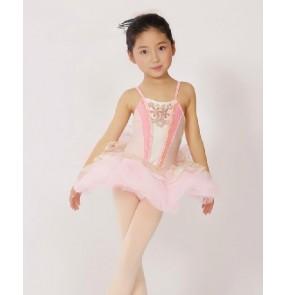 Girls children pink short tutu skirt leotard ballet dance dress