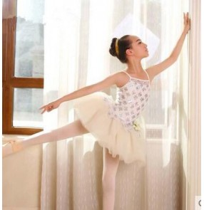 Girls children silver sequined patchwork ballet dance dress with tutu skirt