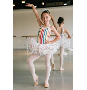 Girls colorful striped leotard tutu skirt ballet dance dress