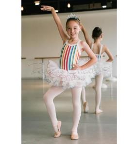 Girls colorful striped leotard tutu skirt ballet dance dress