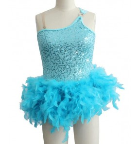 Girls feather skirt latin dance dress turquoise