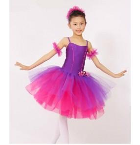 Girls fuchsia and violet tutu skirt long ballet dance dress