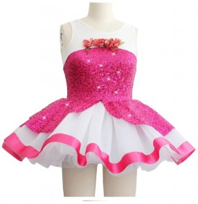 Girls fuchsia and white patchwork tutu skirt ballet dance dress