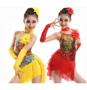 Girls kids baby child children gold yellow  red colorful sequin paillette with gloves backless  professional modern dance stage performance dresses costumes with gloves