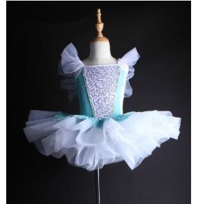 Girls kids blue and white patchwork tutu skirt ballet dance dress