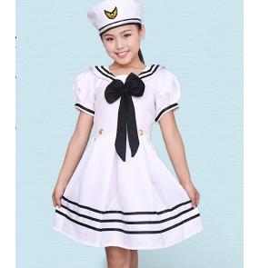Girls kids child baby children white navy uniforms modern stage performance dresses costumes chorus dance dresses