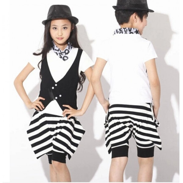 b8dff1bbc Girls kids child boys children black and white striped top and pants ...