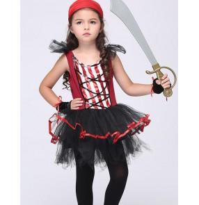 Girls kids child children baby black red patchwork cos play modern dance stage performance jazz dance costumes dance wear dresses