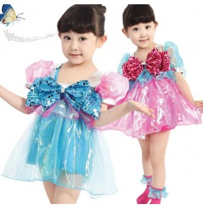 Girls kids child children baby bowknot fuchsia blue patchwork modern dance stage performance dance dresses jazz dance costumes