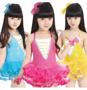 Girls kids child children baby fuchsia yellow gold blue exercises backless competition stage performance latin dance dresses