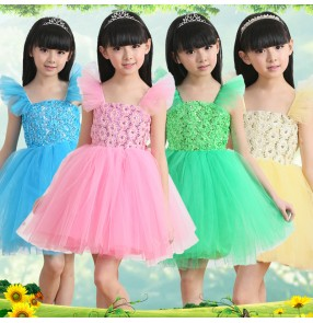 Girls kids child children baby green pink yellow sky blue sleeveless modern dance stage performance  princess dance dresses costumes