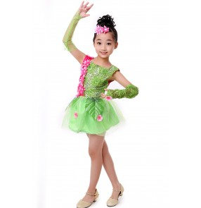 Girls kids child children baby light green fuchsia flower with gloves paillette sequins exercises stage performance modern dance jazz dance costumes dresses dance wear