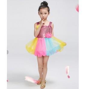Girls kids child children baby paillette rainbow gold yellow blue pink sequin strap modern dance stage performance dresses jazz dance dresses costumes