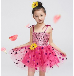 Girls kids child children baby turquoise yellow gold red green fuchsia paillette sequined backless modern dance stage performance jazz dance costumes dresses