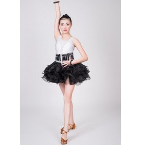 Girls kids child children baby white and black patchwork sleeveless rhinestones diamond professional competition latin dance ballroom dance dresses
