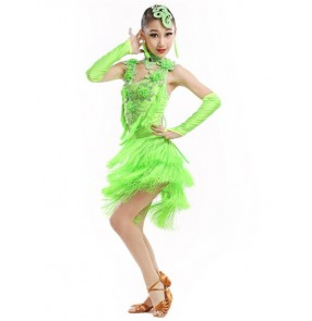 Girls kids child children green orange royal blue professional fringe latin dance dresses salsa cha cha dance dresses with gloves head wear choker