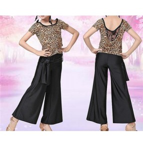 Girls kids child children leopard black patchwork  exercises practice ballroom latin dance dress set short sleeves top and long length pants