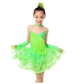 Girls kids child children neon green fringe strap backless fringe professional competition latin dance dresses salsa cha cha samba dance dresses with gloves