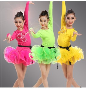 Girls kids child children neon green yellow fuchsia long sleeves competition professional latin dance dresses samba salsa cha cha dance dresses