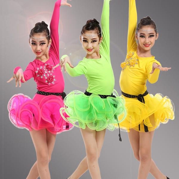 85899953a Girls kids child children neon green yellow fuchsia long sleeves ...