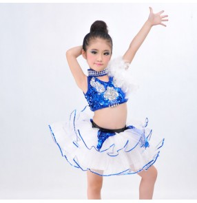 Girls kids child children royal blue white patchwork sleeveless sequins competition modern dance stage performance exercises jazz dj ds dance costumes dresses