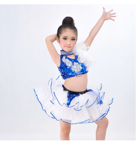 16705c6ce85c Girls kids child children royal blue white patchwork sleeveless ...