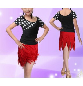 Girls kids child children white polka dot short sleeves top and tassels skirt competition exercises practice stage performance latin ballroom dance dresses set