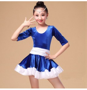 Girls kids child Royal blue and fuchsia and white patchwork short sleeves velvet short sleeves latin dance dresses salsa cha cha dance dresses