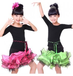 Girls kids children baby black and green fuchsia and black patchwork short sleeves round neck ruffles skirt and top microfiber competition professional latin dance ballroom dance dresses set costumes