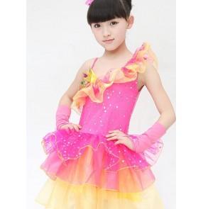 Girls kids children baby child rainbow fuchsia yellow sequined paillette modern dance stage performance jazz dance costumes dresses