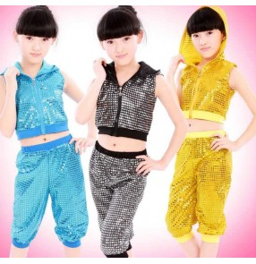 Girls kids children baby child sequined paillette green red yellow black blue separate two pieces modern dance hip hop jazz dance costumes dresses set