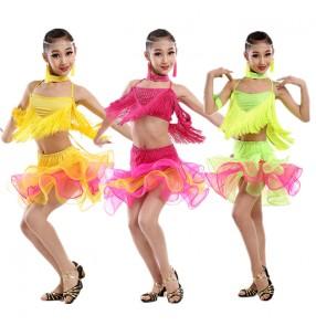 Girls kids children baby green fuchsia yellow rainbow ruffles sleeveless  tassels rhinestones strap backless competition professional latin dance dresses