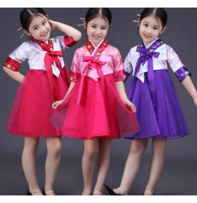 Girls kids children baby Korean girls cos play folk dance modern dance party dresses stage performance costumes dreses