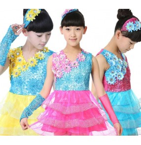 Girls kids children child baby blue fuchsia yellow rainbow flowers sequined paillette modern dance competition stage performance jazz dance costumes dresses