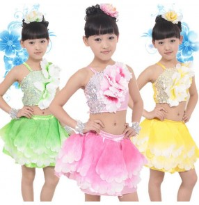 Girls kids children child baby flower gradient color fuchsia green yellow gold separate two pieces modern dance stage performance jazz dance costumes dresses