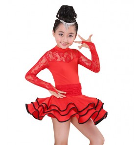 Girls kids children child baby fuchsia red blue long lace sleeve ruffles skirted competition exercises latin dance dresses salsa cha cha dance dress