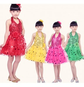Girls kids children child baby fuchsia sequined paillette sleeveless halter backless flower modern dance stage performance costumes dresses dancewear