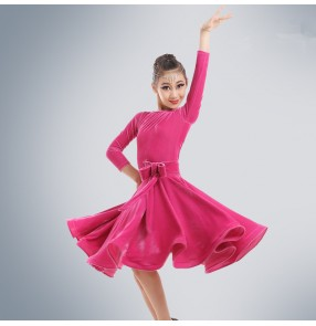 Girls kids children child baby fuchsia velvet long sleeves with sashes big skirted competition professional ballroom latin salsa cha cha dance dresses