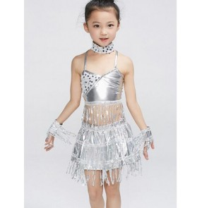 Girls kids children child Baby gold silver paillette sequin fringe tassels modern stage performance latin dance salsa samba costumes set top and skirt