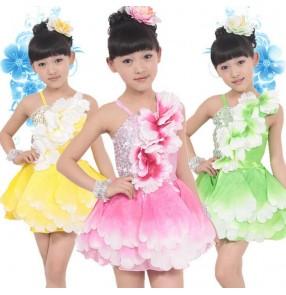 Girls kids children child baby gradient green fuchsia yellow flower strap sleeveless latin modern dance stage performance jazz dance dresses costumes