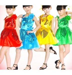 Girls kids children child baby green yellow gold blue green red flowers one shoulder sequined paillette latin dance modern dance jazz dance dresses costumes
