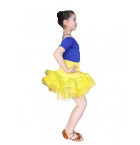 Girls kids children child baby royal blue and yellow black and fuchsia patchwork short sleeves ruffles skirt latin ballroom salsa dance dresses set top and skirt