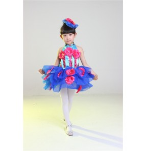 Girls kids children child flower royal blue green patchwork  stage performance modern dance princess dresses 90-140cm