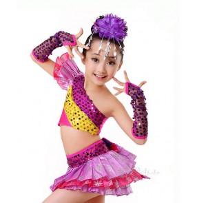 Girls kids children child fuchsia paillette sequined modern jazz dance costumes stage performance dance wear