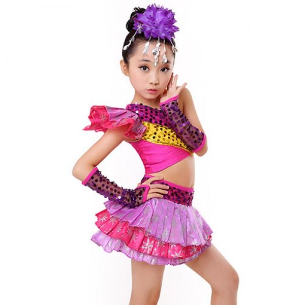 a1972c09ab79 Girls kids children child fuchsia paillette sequined modern jazz ...