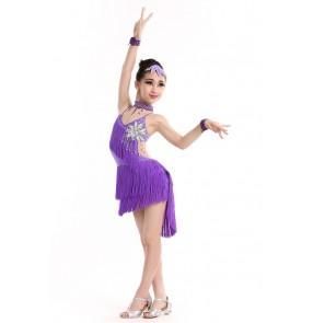 Girls kids children child fuchsia yellow violet royal blue fringe rhinestones backless competition latin dresses salsa samba cha cha dance dresses dance wear clothes 100-160cm