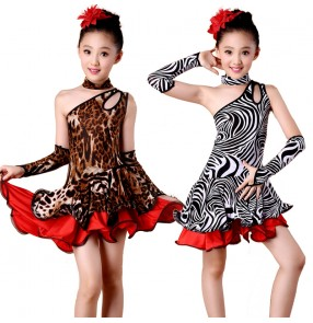Girls kids children child leopard zebra printed competition professional exercises latin dresses