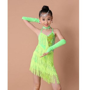 Girls kids children child neon green fuchsia red paillette sequined backless with gloves strap professional competition latin salsa cha cha dance dresses with gloves