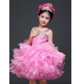 Girls kids children child pink rhinestone boat neck lace closure back modern stage performance dance dresses flower girls princess dresses 90-150cm