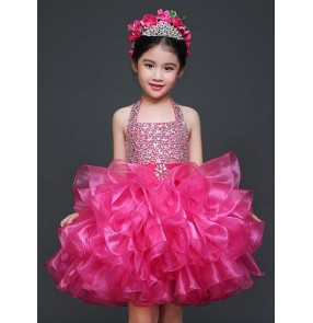 Girls kids children child rhinestones fuchsia  straps  halter backless stage performance modern dance princess dress flower girls dresses 90-150cm